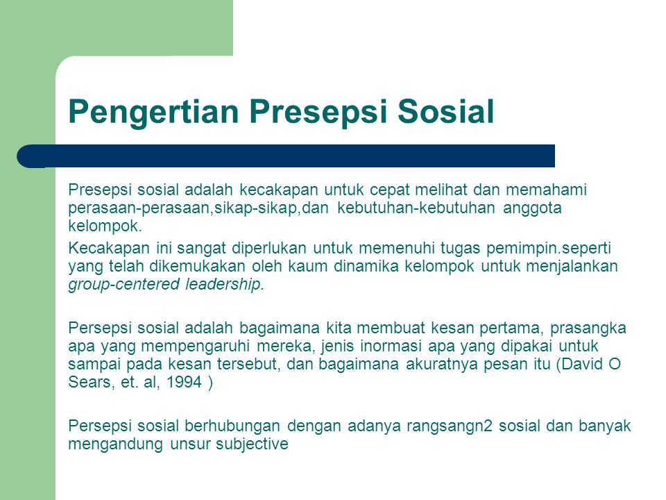 Pengertian Presepsi Sosial