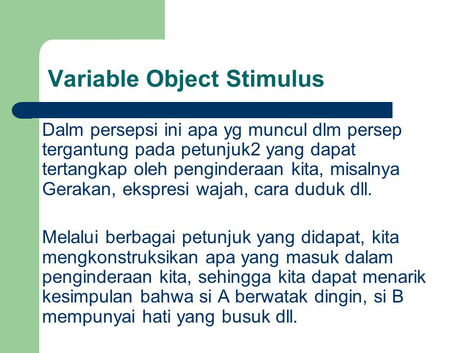 Variable Object Stimulus