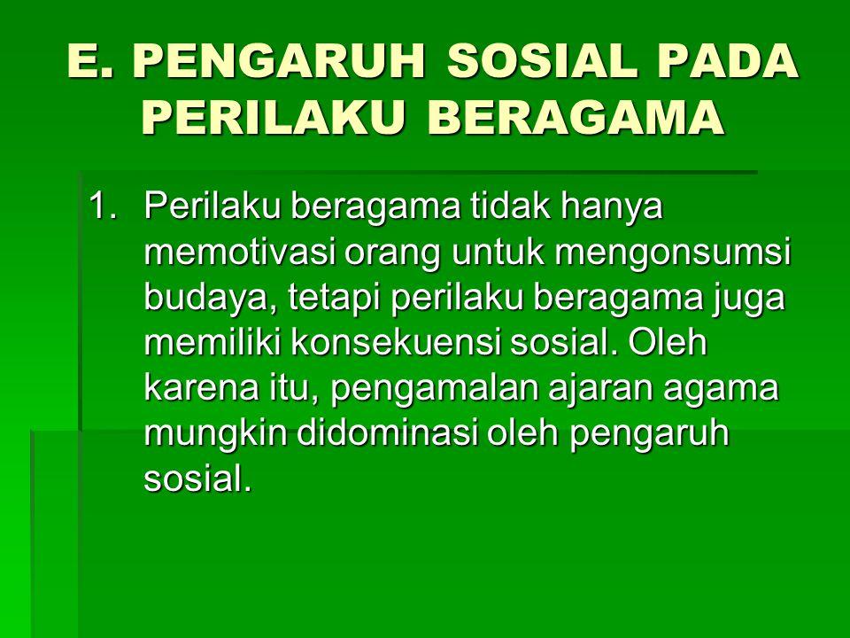 E. PENGARUH SOSIAL PADA PERILAKU BERAGAMA