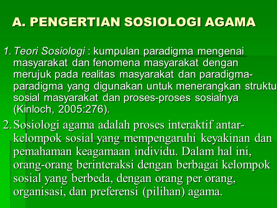A. PENGERTIAN SOSIOLOGI AGAMA