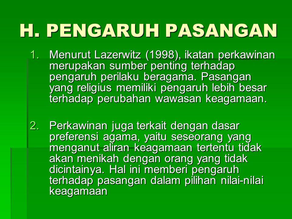 H. PENGARUH PASANGAN