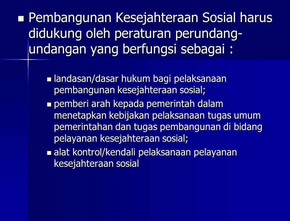 Pembangunan Kesejahteraan Sosial harus didukung oleh peraturan perundang-undangan yang berfungsi sebagai :