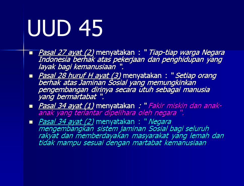 UUD 45 Pasal 27 ayat (2) menyatakan : Tiap-tiap warga Negara Indonesia berhak atas pekerjaan dan penghidupan yang layak bagi kemanusiaan .