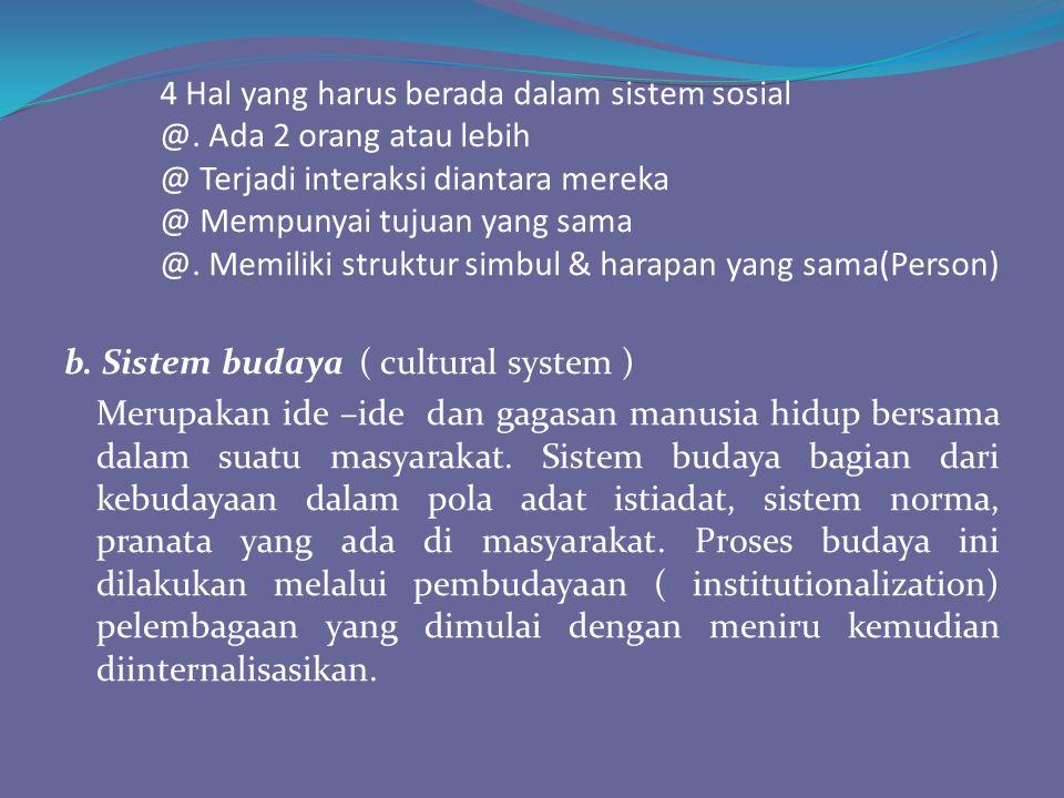 4 Hal yang harus berada dalam sistem sosial. @. Ada 2 orang atau lebih