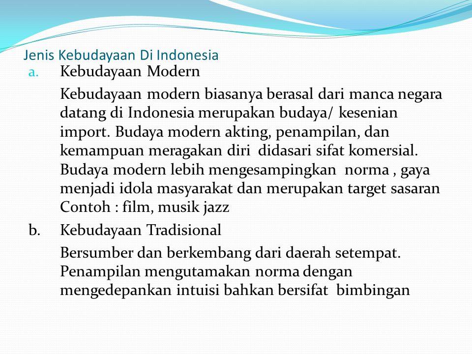 Jenis Kebudayaan Di Indonesia