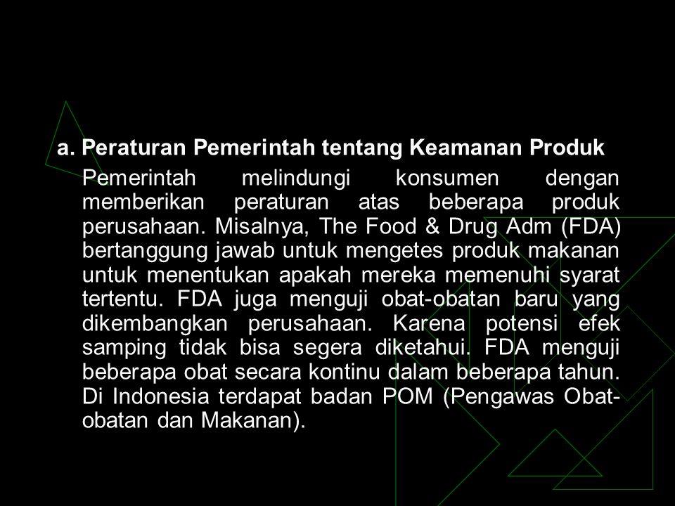 a. Peraturan Pemerintah tentang Keamanan Produk