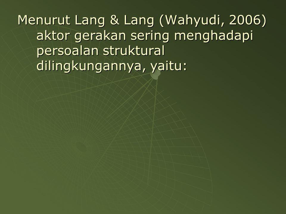 Menurut Lang & Lang (Wahyudi, 2006) aktor gerakan sering menghadapi persoalan struktural dilingkungannya, yaitu: