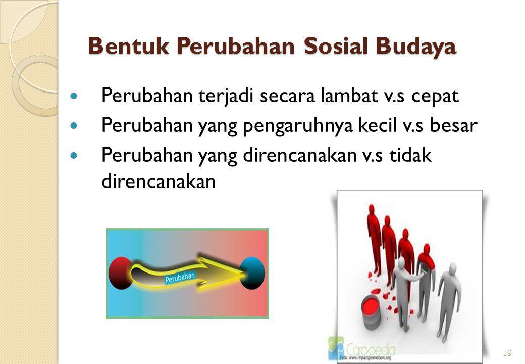 Bentuk Perubahan Sosial Budaya