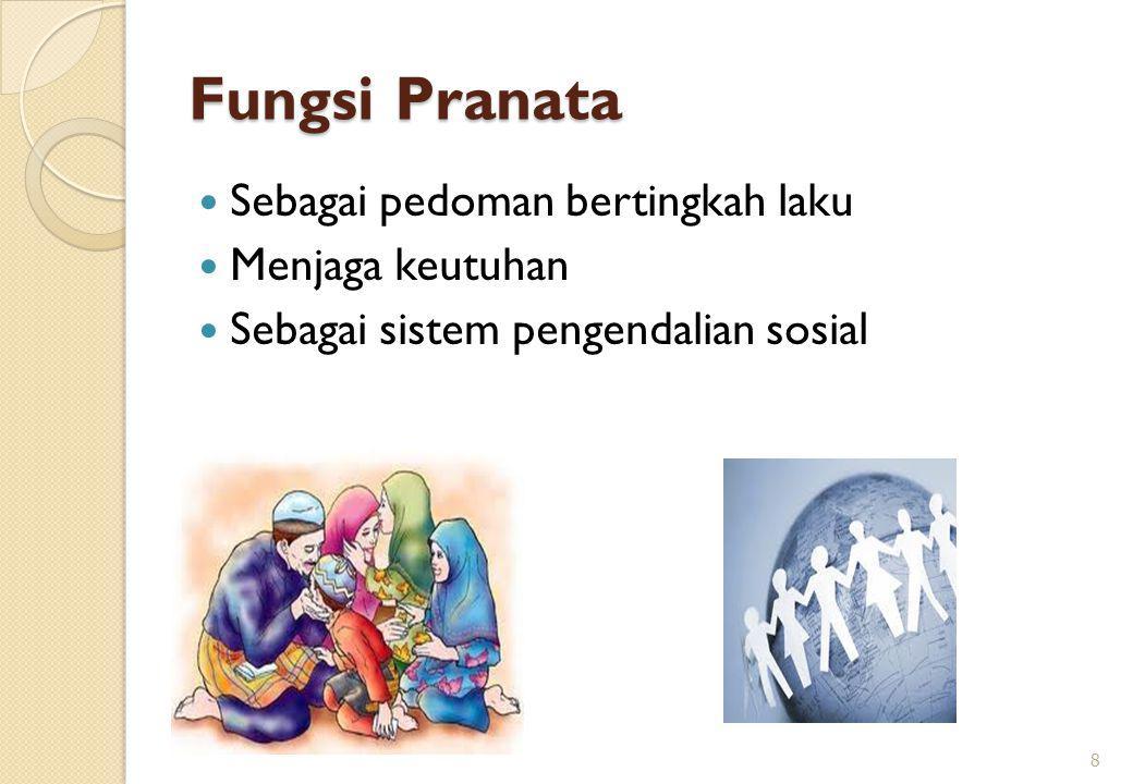 Fungsi Pranata Sebagai pedoman bertingkah laku Menjaga keutuhan