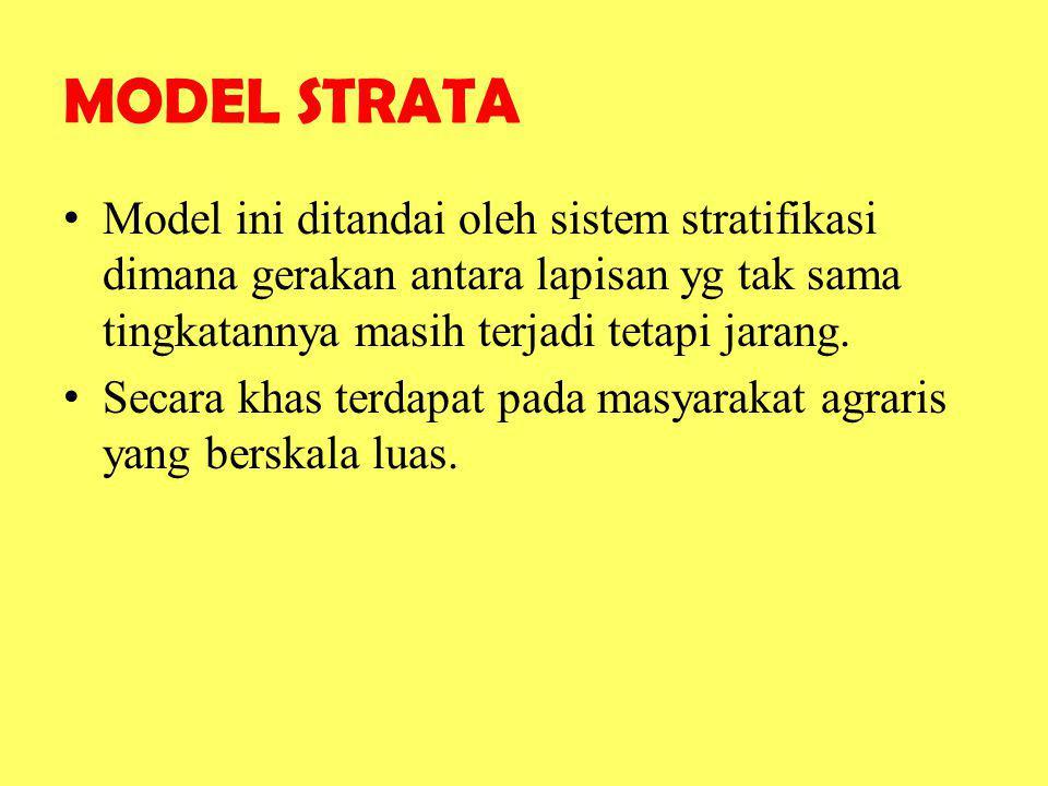 MODEL STRATA Model ini ditandai oleh sistem stratifikasi dimana gerakan antara lapisan yg tak sama tingkatannya masih terjadi tetapi jarang.