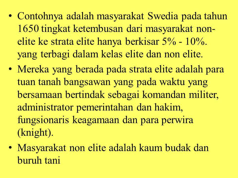 Contohnya adalah masyarakat Swedia pada tahun 1650 tingkat ketembusan dari masyarakat non-elite ke strata elite hanya berkisar 5% - 10%. yang terbagi dalam kelas elite dan non elite.