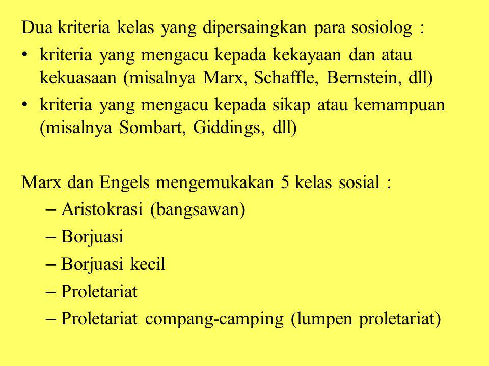 Dua kriteria kelas yang dipersaingkan para sosiolog :