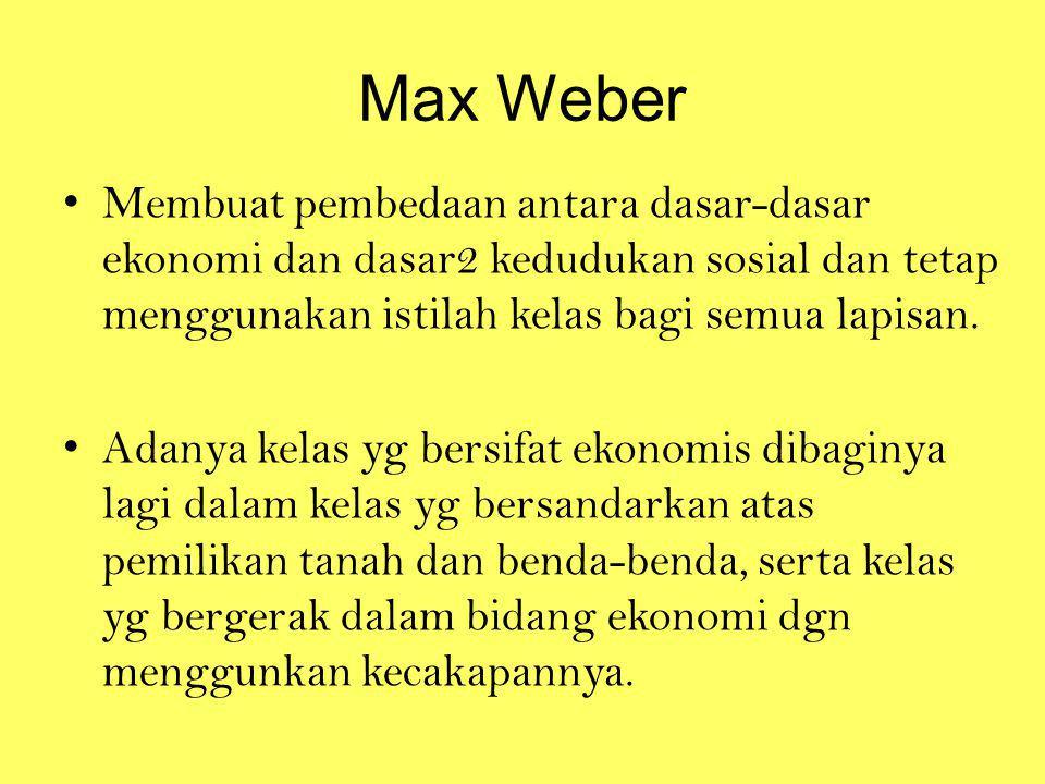 Max Weber Membuat pembedaan antara dasar-dasar ekonomi dan dasar2 kedudukan sosial dan tetap menggunakan istilah kelas bagi semua lapisan.