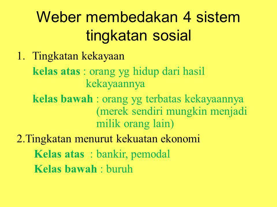Weber membedakan 4 sistem tingkatan sosial