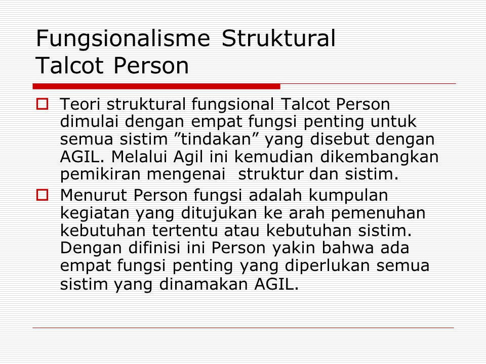 Fungsionalisme Struktural Talcot Person
