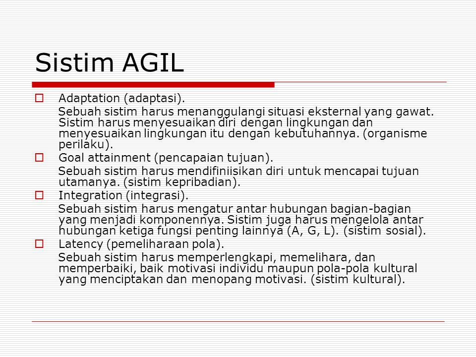 Sistim AGIL Adaptation (adaptasi).