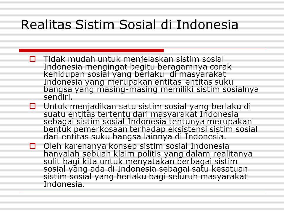 Realitas Sistim Sosial di Indonesia