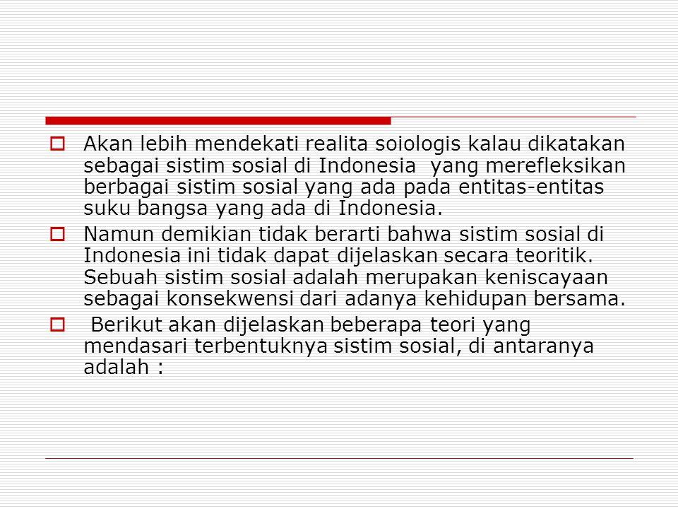 Akan lebih mendekati realita soiologis kalau dikatakan sebagai sistim sosial di Indonesia yang merefleksikan berbagai sistim sosial yang ada pada entitas-entitas suku bangsa yang ada di Indonesia.