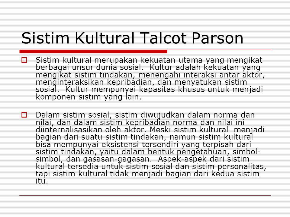 Sistim Kultural Talcot Parson