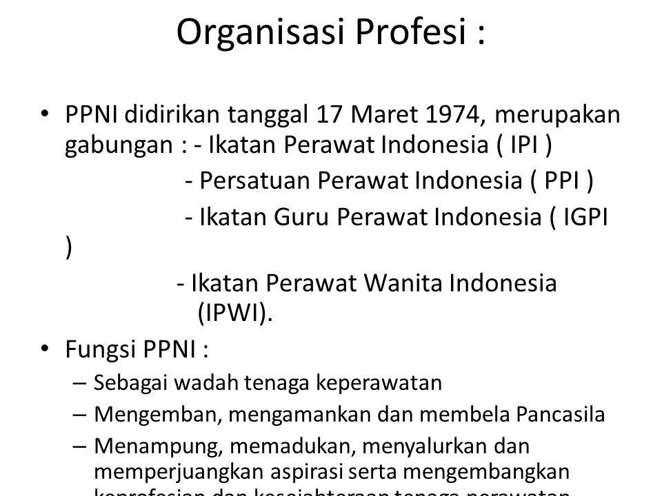 Organisasi Profesi : PPNI didirikan tanggal 17 Maret 1974, merupakan gabungan : - Ikatan Perawat Indonesia ( IPI )