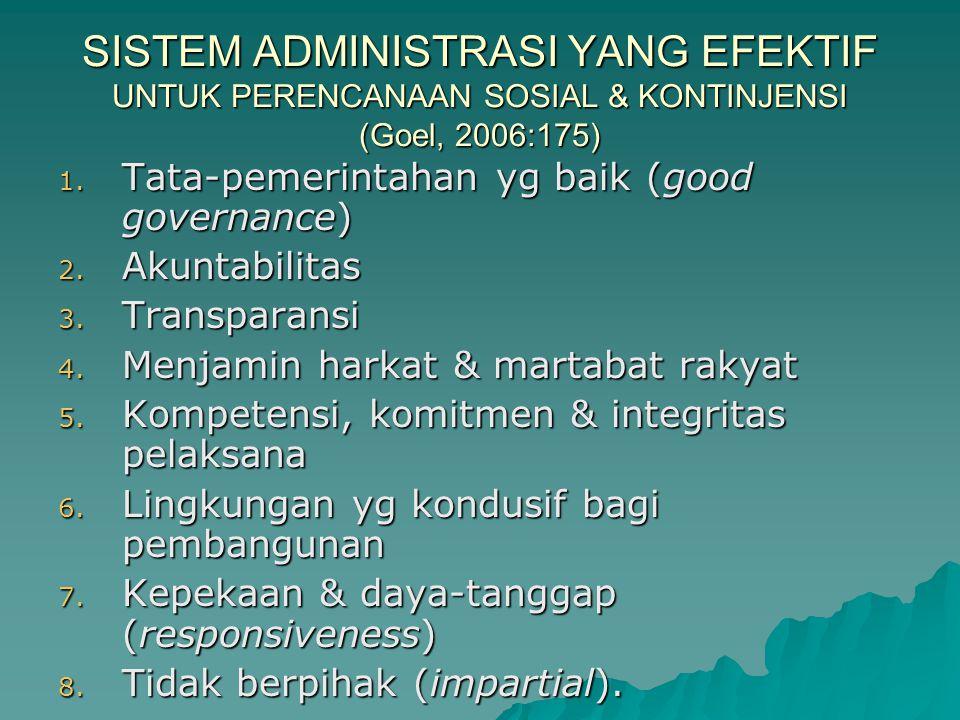 SISTEM ADMINISTRASI YANG EFEKTIF UNTUK PERENCANAAN SOSIAL & KONTINJENSI (Goel, 2006:175)