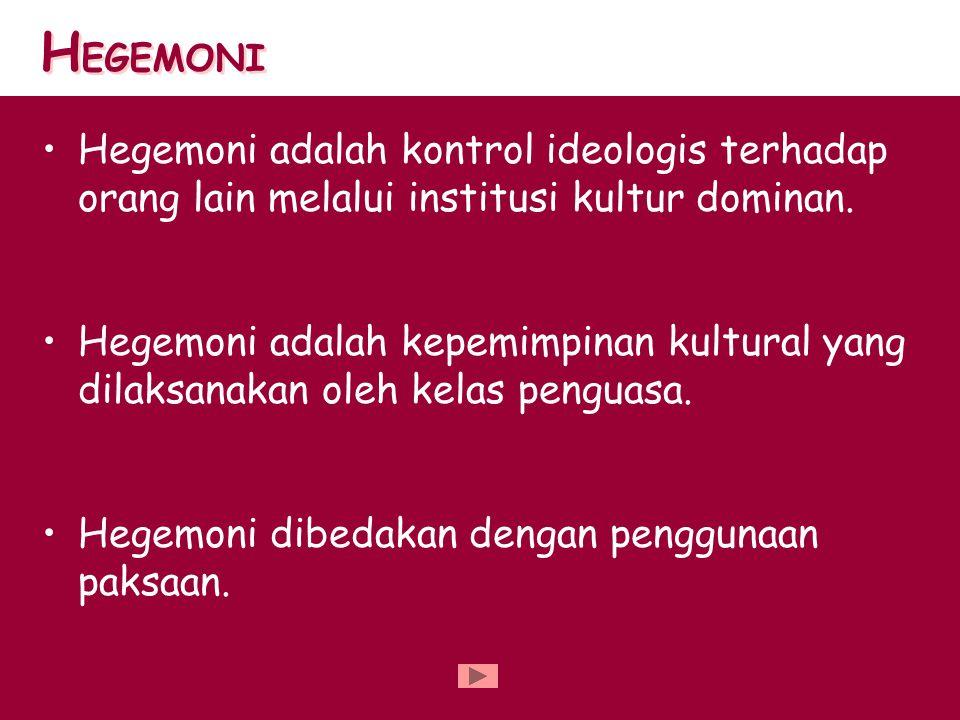 HEGEMONI Hegemoni adalah kontrol ideologis terhadap orang lain melalui institusi kultur dominan.