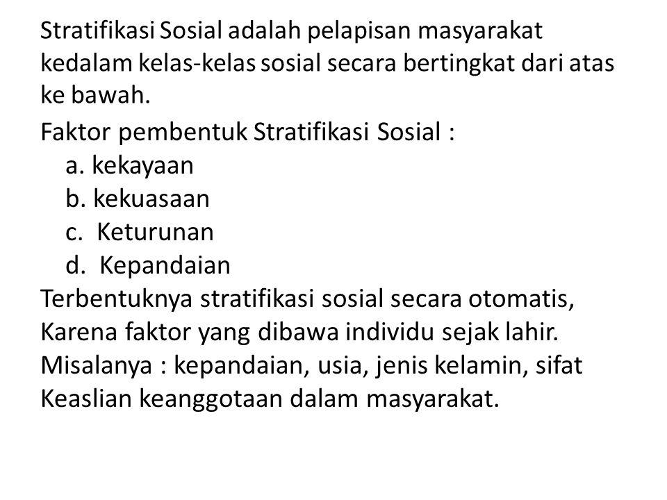 Stratifikasi Sosial adalah pelapisan masyarakat kedalam kelas-kelas sosial secara bertingkat dari atas ke bawah.
