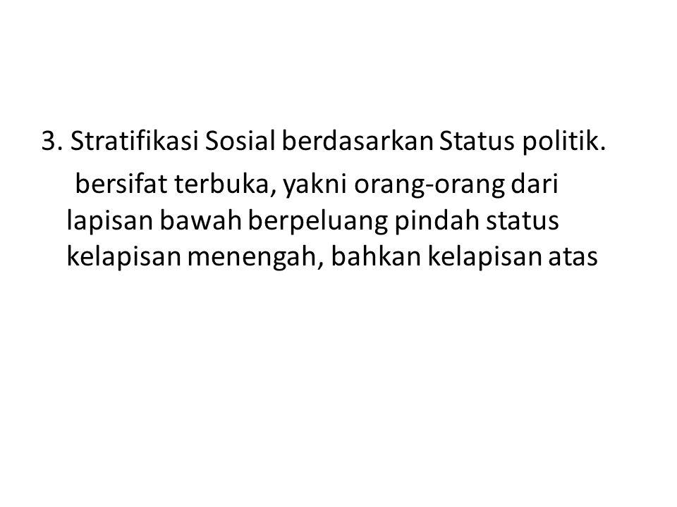 3. Stratifikasi Sosial berdasarkan Status politik