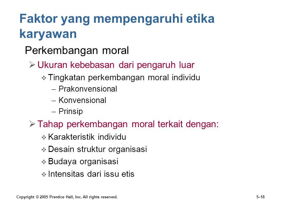Faktor yang mempengaruhi etika karyawan