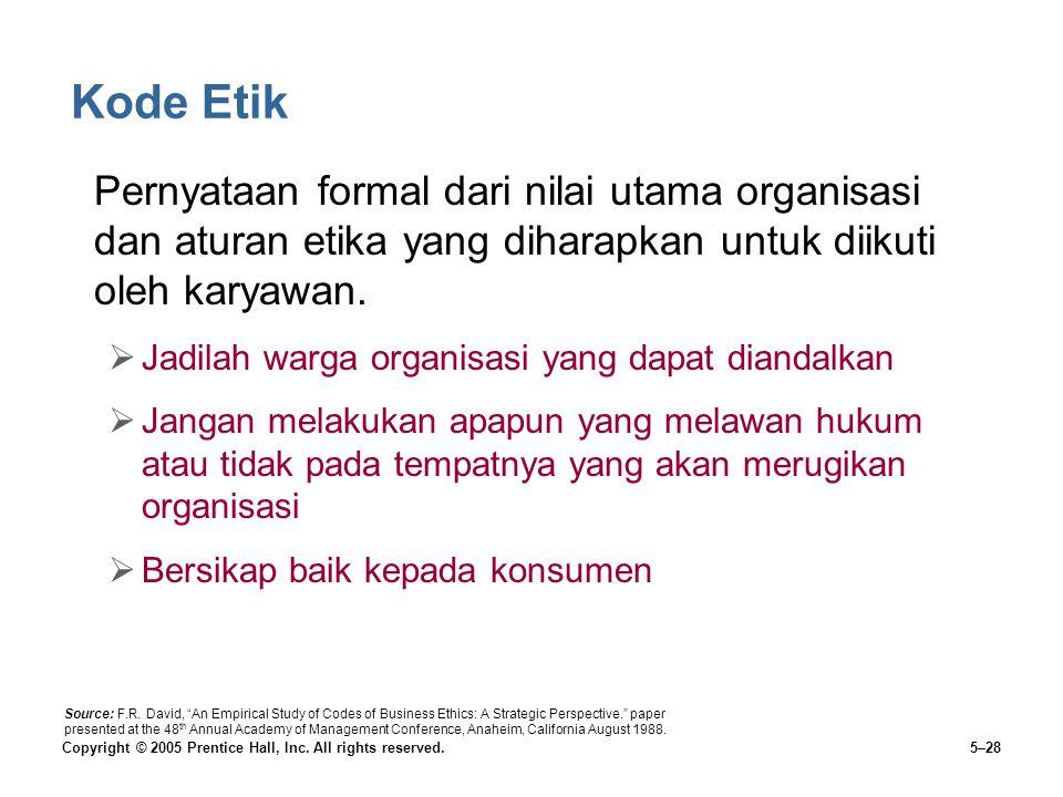 Kode Etik Pernyataan formal dari nilai utama organisasi dan aturan etika yang diharapkan untuk diikuti oleh karyawan.
