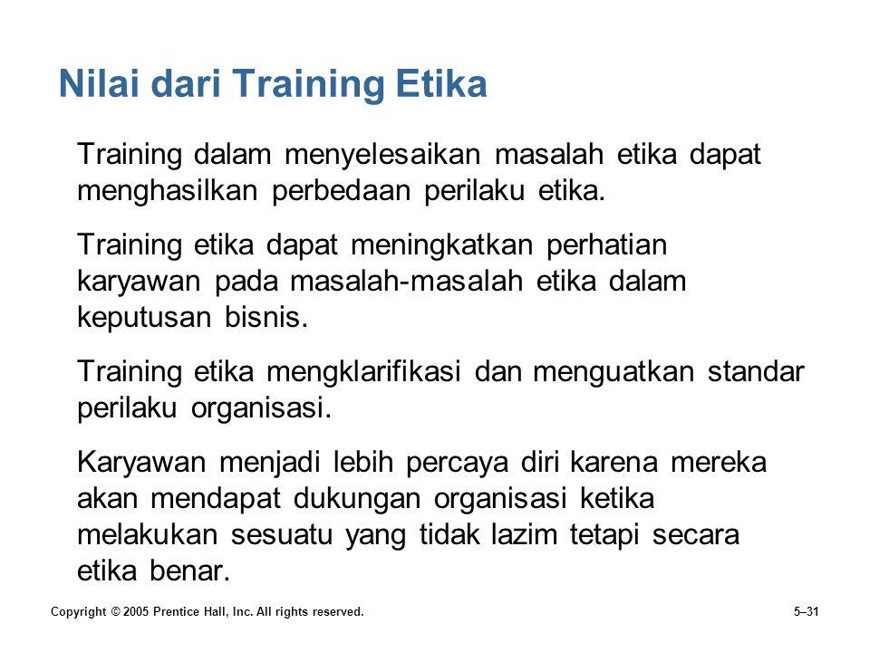 Nilai dari Training Etika