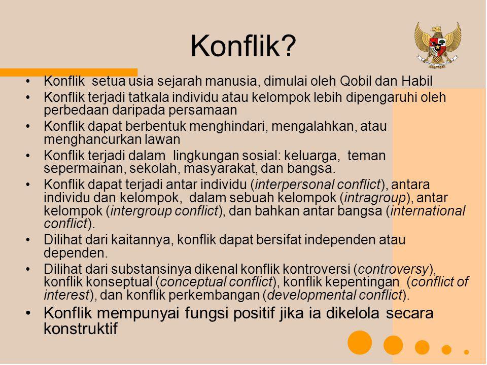 Konflik Konflik setua usia sejarah manusia, dimulai oleh Qobil dan Habil.