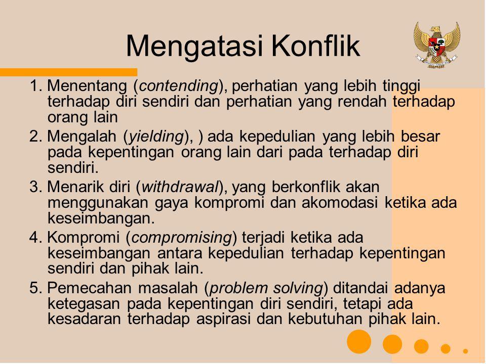 Mengatasi Konflik 1. Menentang (contending), perhatian yang lebih tinggi terhadap diri sendiri dan perhatian yang rendah terhadap orang lain.