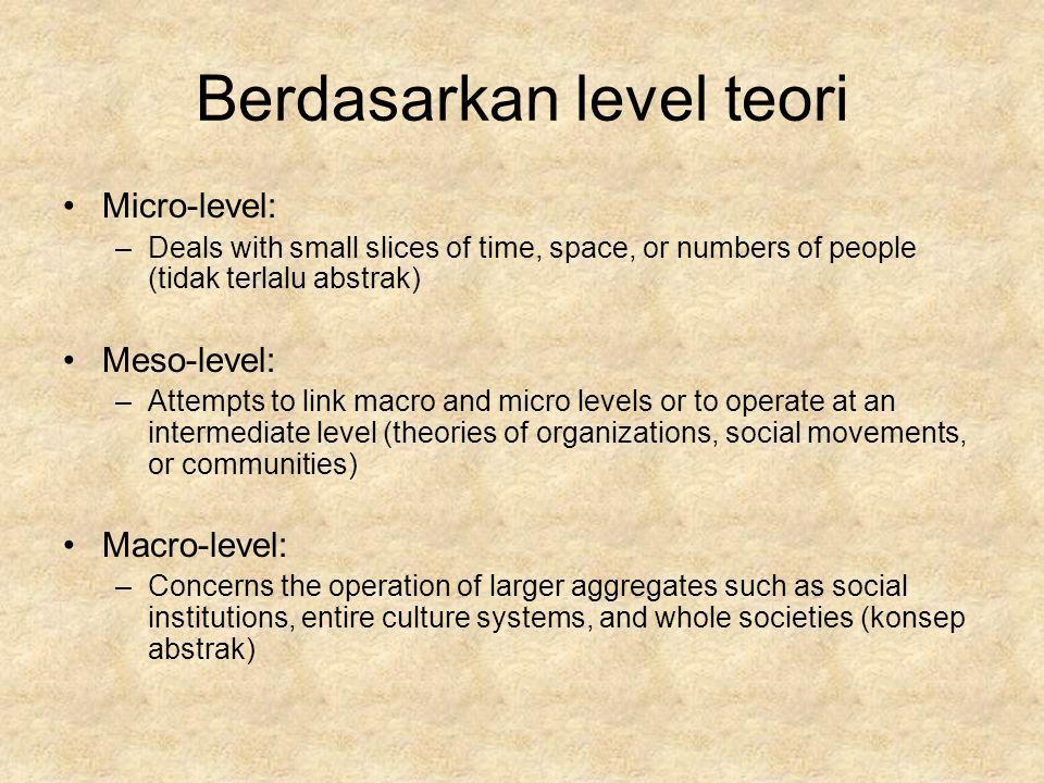 Berdasarkan level teori