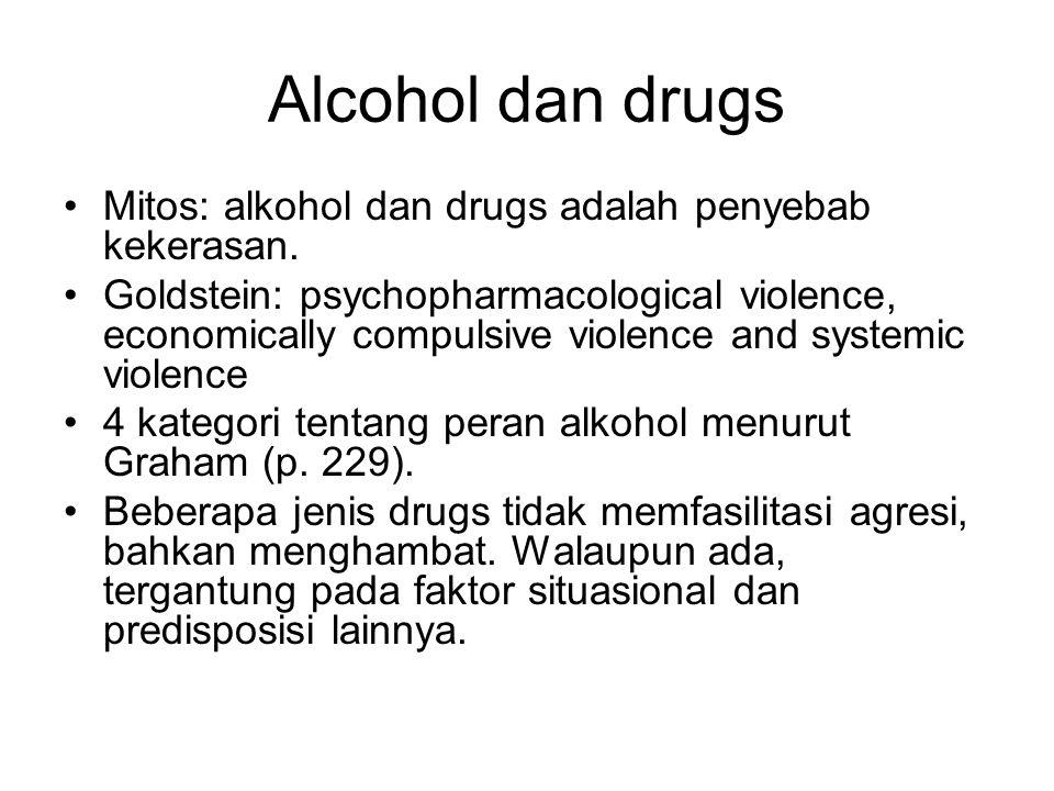 Alcohol dan drugs Mitos: alkohol dan drugs adalah penyebab kekerasan.