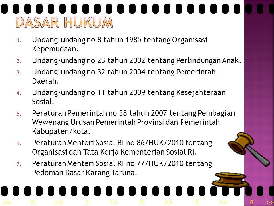 DASAR HUKUM Undang-undang no 8 tahun 1985 tentang Organisasi Kepemudaan. Undang-undang no 23 tahun 2002 tentang Perlindungan Anak.