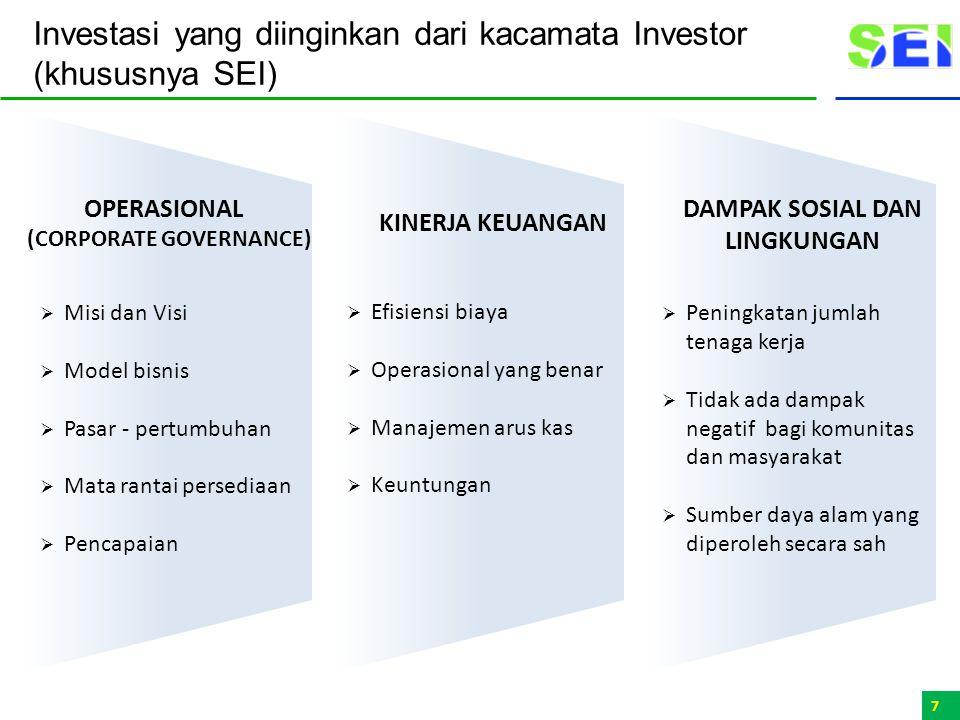 Investasi yang diinginkan dari kacamata Investor (khususnya SEI)