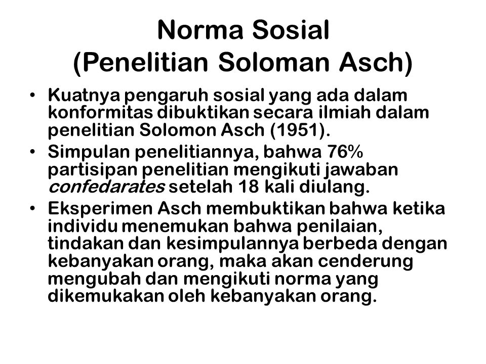 Norma Sosial (Penelitian Soloman Asch)