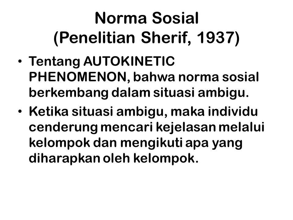 Norma Sosial (Penelitian Sherif, 1937)
