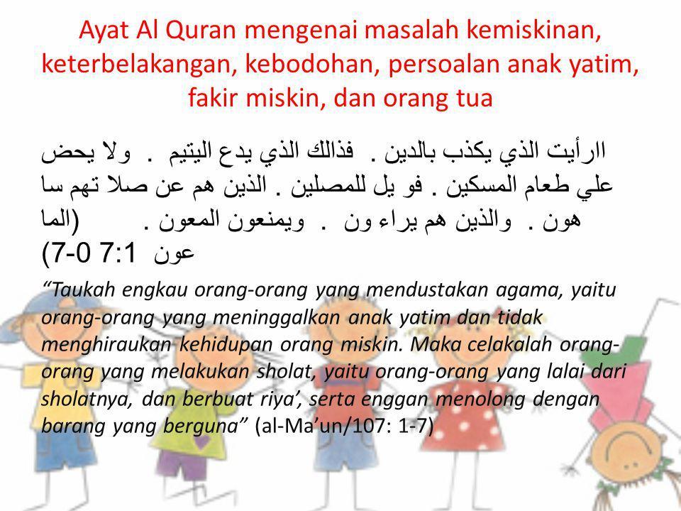 Ayat Al Quran mengenai masalah kemiskinan, keterbelakangan, kebodohan, persoalan anak yatim, fakir miskin, dan orang tua
