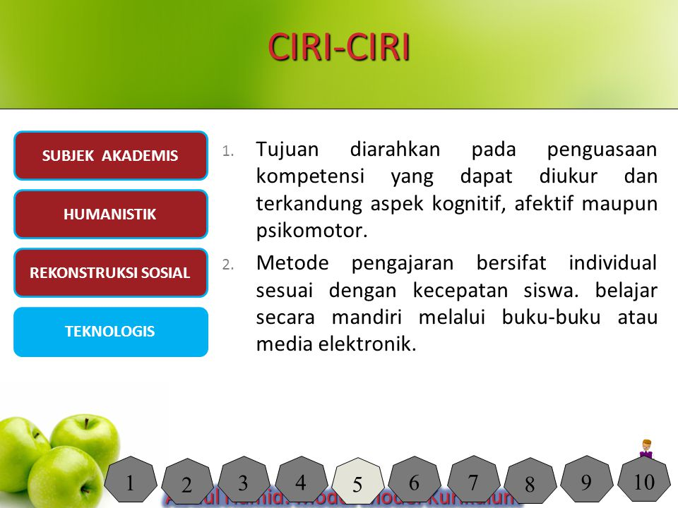 CIRI-CIRI SUBJEK AKADEMIS. Tujuan diarahkan pada penguasaan kompetensi yang dapat diukur dan terkandung aspek kognitif, afektif maupun psikomotor.