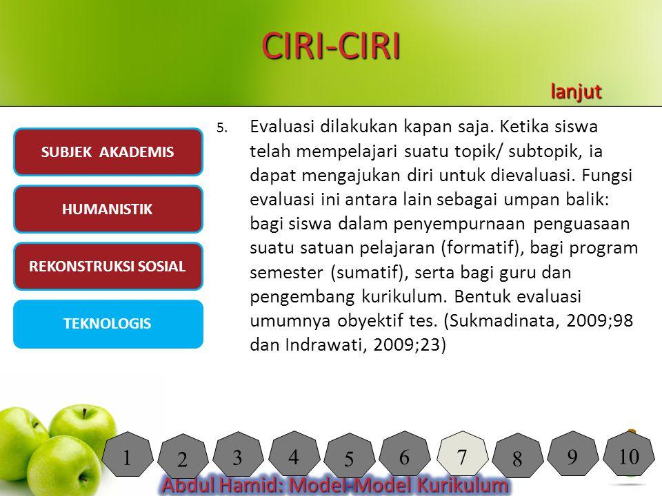 CIRI-CIRI lanjut.
