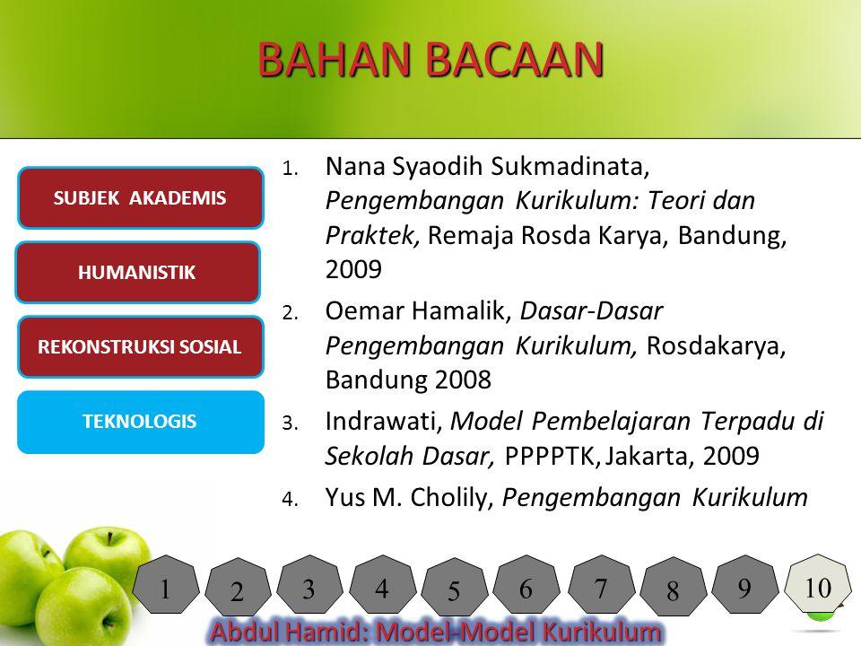 BAHAN BACAAN Nana Syaodih Sukmadinata, Pengembangan Kurikulum: Teori dan Praktek, Remaja Rosda Karya, Bandung, 2009.