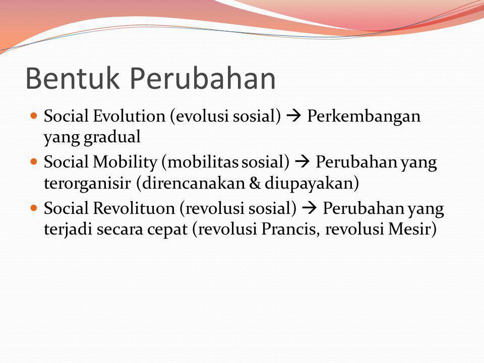 Bentuk Perubahan Social Evolution (evolusi sosial)  Perkembangan yang gradual.
