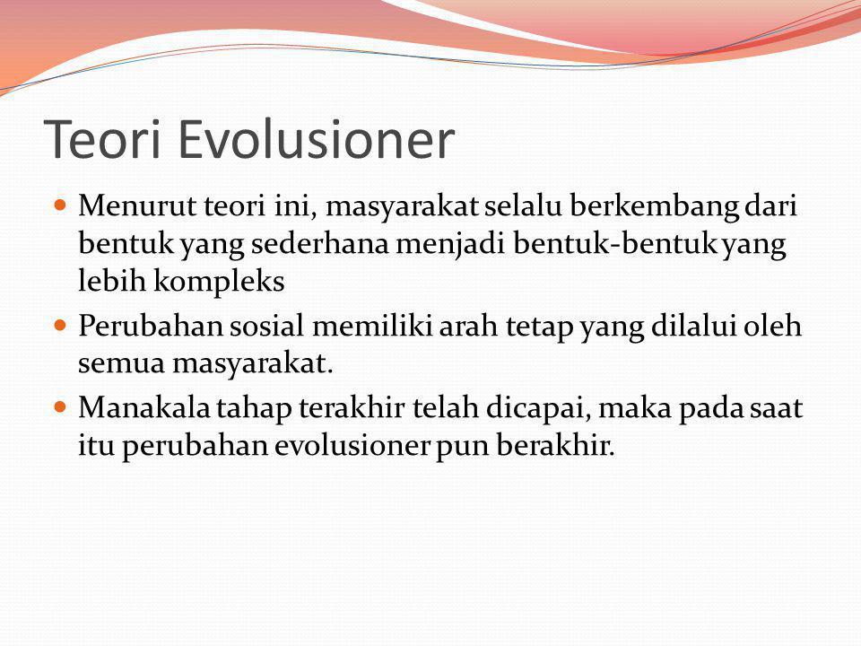Teori Evolusioner Menurut teori ini, masyarakat selalu berkembang dari bentuk yang sederhana menjadi bentuk-bentuk yang lebih kompleks.
