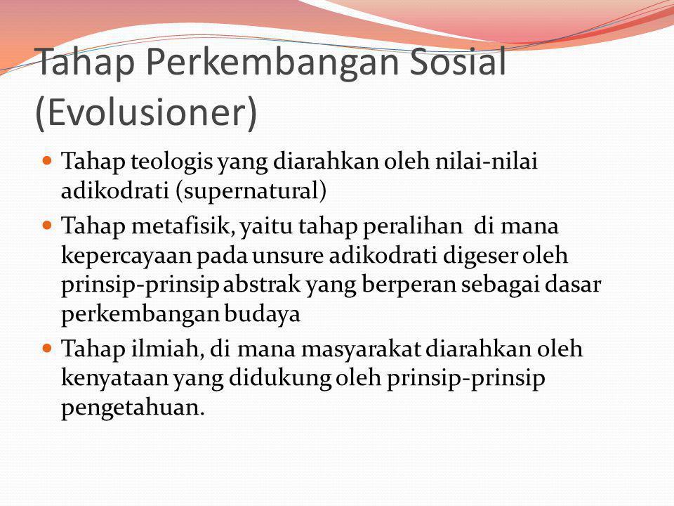 Tahap Perkembangan Sosial (Evolusioner)