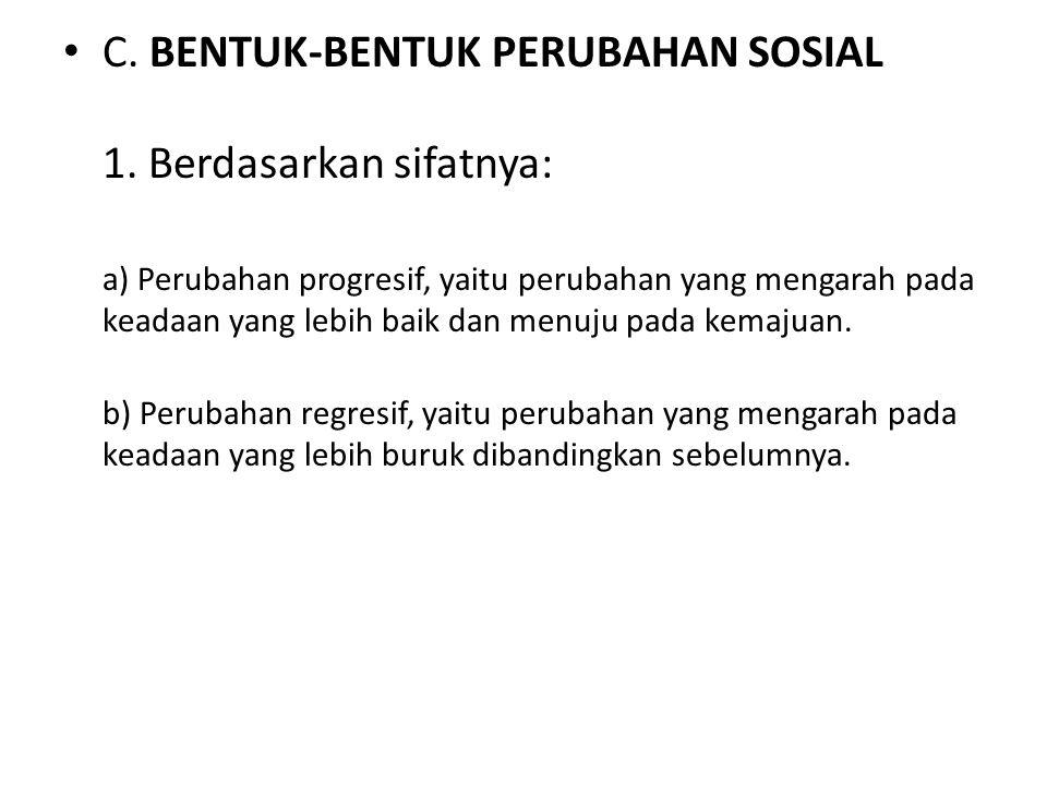 C. BENTUK-BENTUK PERUBAHAN SOSIAL 1. Berdasarkan sifatnya: