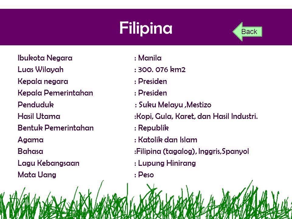 Filipina Ibukota Negara : Manila Luas Wilayah : 300. 076 km2