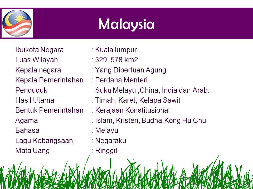 Malaysia Ibukota Negara : Kuala lumpur Luas Wilayah : 329. 578 km2