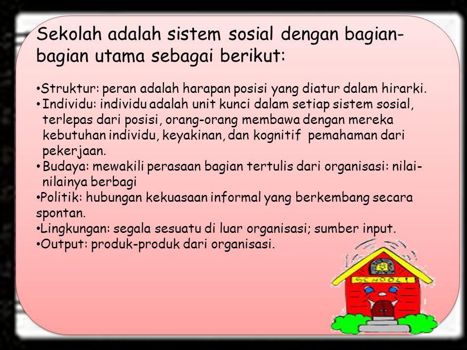 Sekolah adalah sistem sosial dengan bagian-bagian utama sebagai berikut: